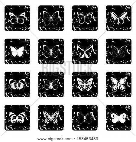 Butterfly set icons in grunge style isolated on white background. Vector illustration