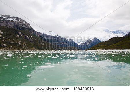 Pia Glacier in Parque Nacional Alberto de Agostini in the Beagle Channel of Patagonia, Chile in Summer