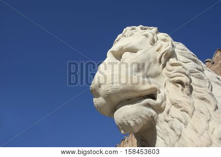 Piraeus Lion an ancient statue at the entrance of Venetian Arsenal (with copy space) poster