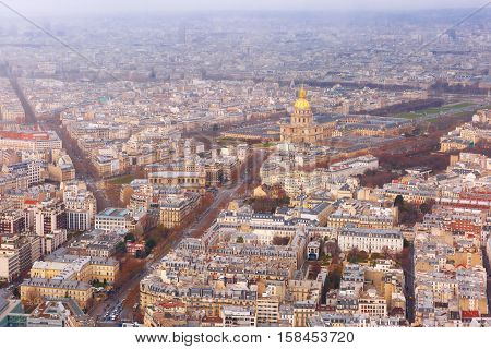 View of Paris with Les Invalides from the Maine-Montparnasse Tower, France
