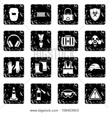 Safety set icons in grunge style isolated on white background. Vector illustration