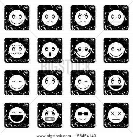 Emoticon set icons in grunge style isolated on white background. Vector illustration