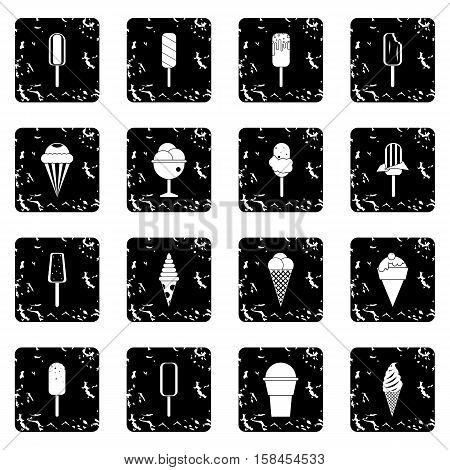 Ice cream set icons in grunge style isolated on white background. Vector illustration