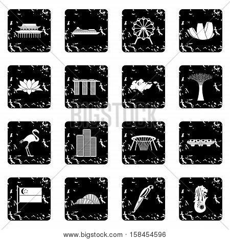 Singapore set icons in grunge style isolated on white background. Vector illustration