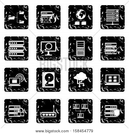 Big data set icons in grunge style isolated on white background. Vector illustration