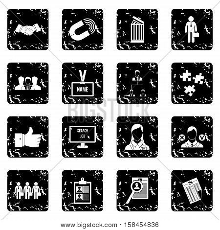 Human resource management set icons in grunge style isolated on white background. Vector illustration