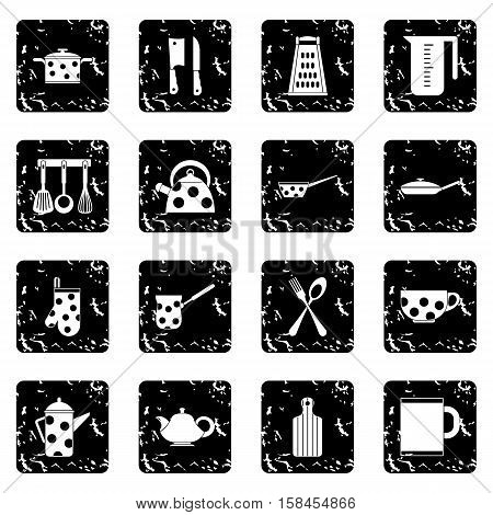 Kitchen tools and utensils set icons in grunge style isolated on white background. Vector illustration