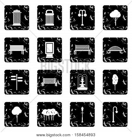 Park set icons in grunge style isolated on white background. Vector illustration