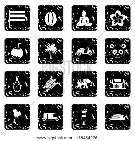 Costa Rica set icons in grunge style isolated on white background. Vector illustration