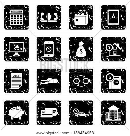 Credit set icons in grunge style isolated on white background. Vector illustration