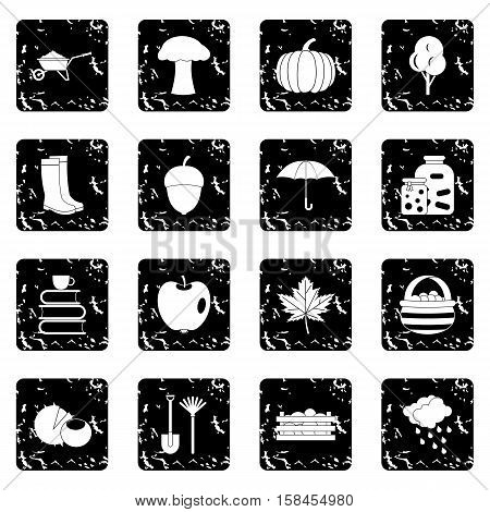 Autumn set icons in grunge style isolated on white background. Vector illustration
