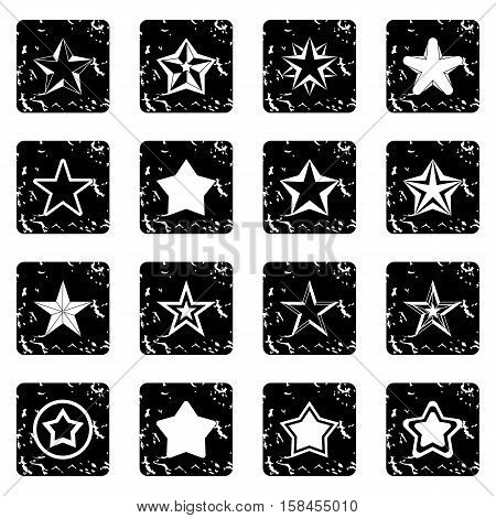 Star set icons in grunge style isolated on white background. Vector illustration