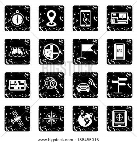 Navigation set icons in grunge style isolated on white background. Vector illustration