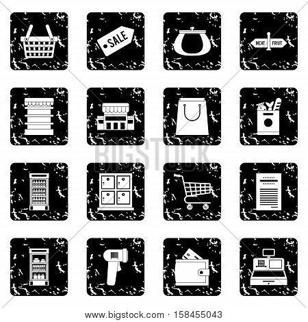 Supermarket set icons in grunge style isolated on white background. Vector illustration