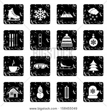 Winter set icons in grunge style isolated on white background. Vector illustration