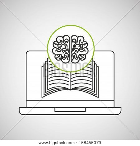 learn online book brain intellect vector illustration eps 10