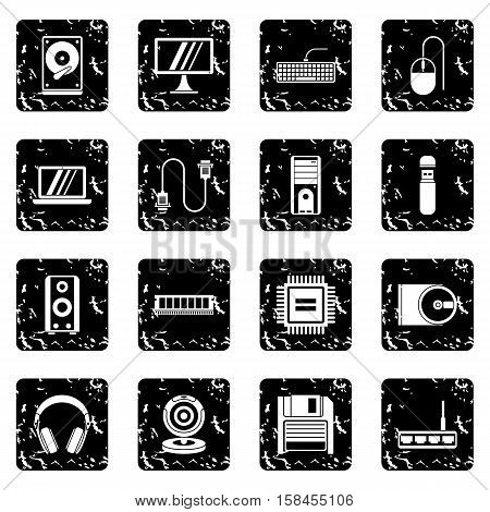 Computer set icons in grunge style isolated on white background. Vector illustration