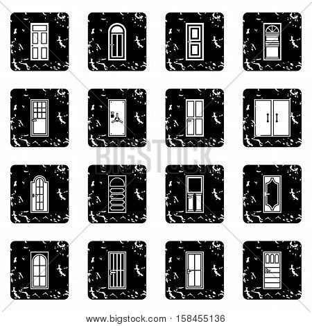Door set icons in grunge style isolated on white background. Vector illustration