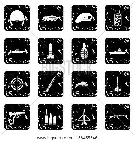 Military set icons in grunge style isolated on white background. Vector illustration
