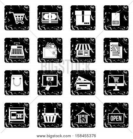 Shopping set icons in grunge style isolated on white background. Vector illustration