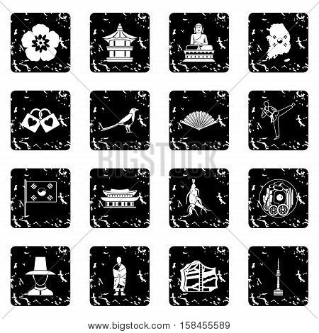South Korea set icons in grunge style isolated on white background. Vector illustration