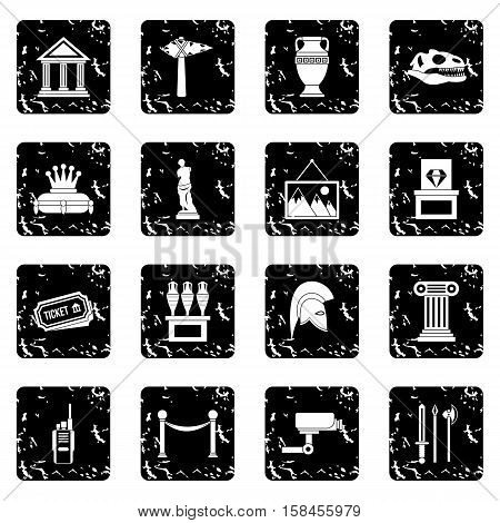 Museum set icons in grunge style isolated on white background. Vector illustration