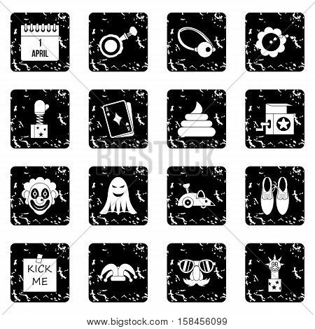 April fools day set icons in grunge style isolated on white background. Vector illustration