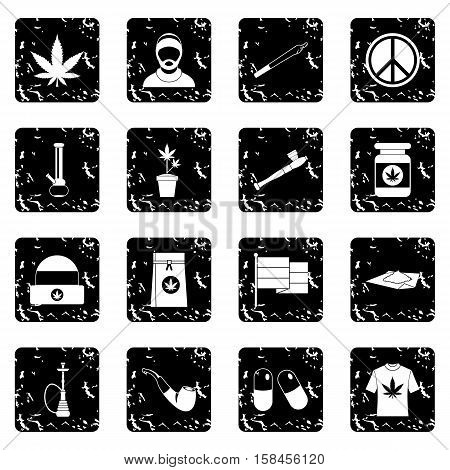 Rastafarian set icons in grunge style isolated on white background. Vector illustration