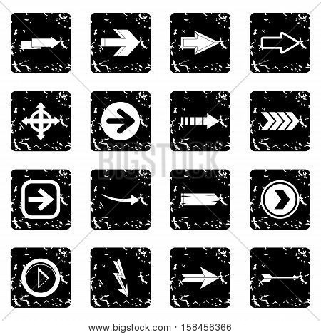 Arrow icons set icons in grunge style isolated on white background. Vector illustration