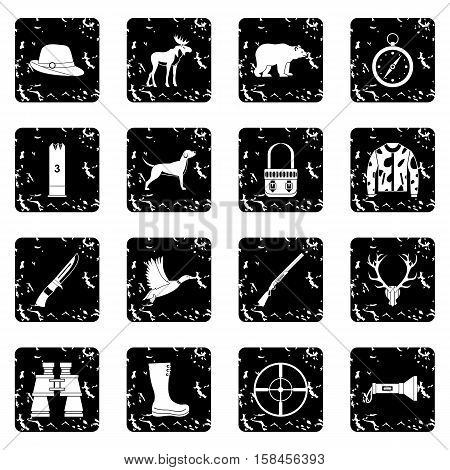 Hunting icons set icons in grunge style isolated on white background. Vector illustration
