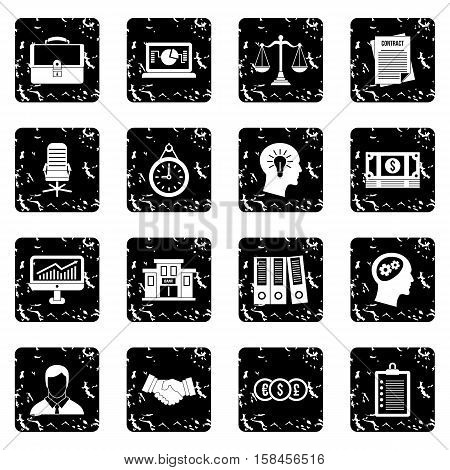 Banking icons set icons in grunge style isolated on white background. Vector illustration