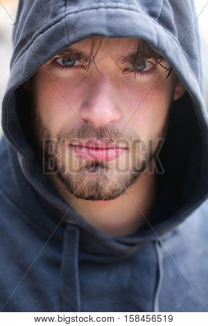 Handsome Bearded Man In Hood