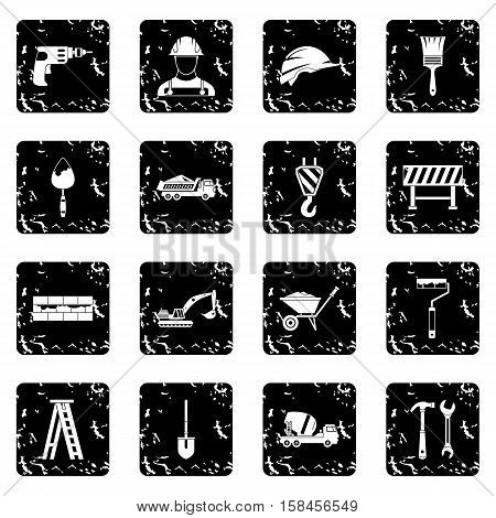Construction icons set icons in grunge style isolated on white background. Vector illustration