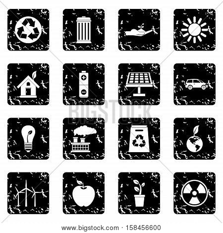 Ecology icons set icons in grunge style isolated on white background. Vector illustration