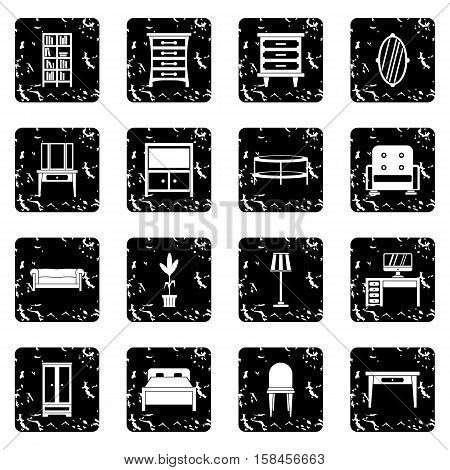 Furniture icons set icons in grunge style isolated on white background. Vector illustration