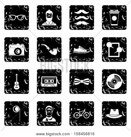 Hipster icons set icons in grunge style isolated on white background. Vector illustration