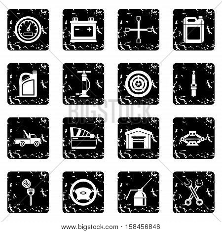 Car maintenance and repair icons set icons in grunge style isolated on white background. Vector illustration