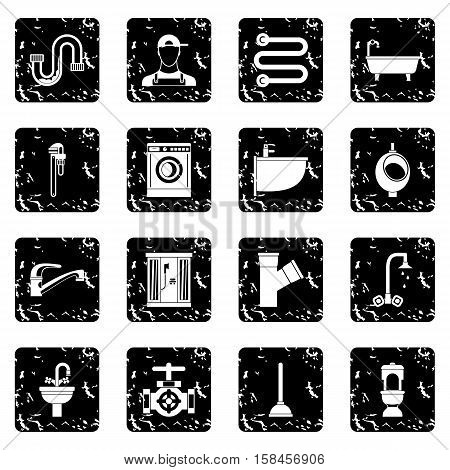 Plumbing icons set icons in grunge style isolated on white background. Vector illustration