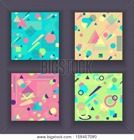 Set Abstract seamless patterns from geometric form in postmodern Memphis Style for wallpaper or package or for clothes for decoration childish school subject or for creative design