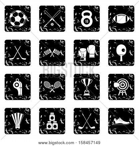 Sport equipment icons set icons in grunge style isolated on white background. Vector illustration