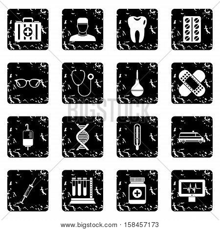 Medicine icons set icons in grunge style isolated on white background. Vector illustration