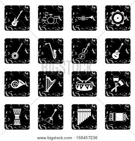 Musical instruments icons set icons in grunge style isolated on white background. Vector illustration