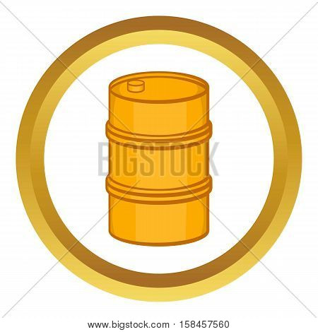 Orange barrel vector icon in golden circle, cartoon style isolated on white background