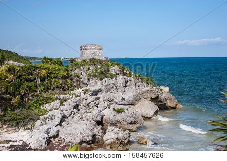 Ancient Ruins at Tulum Mexico Rocky Beach