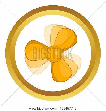 Car fan vector icon in golden circle, cartoon style isolated on white background