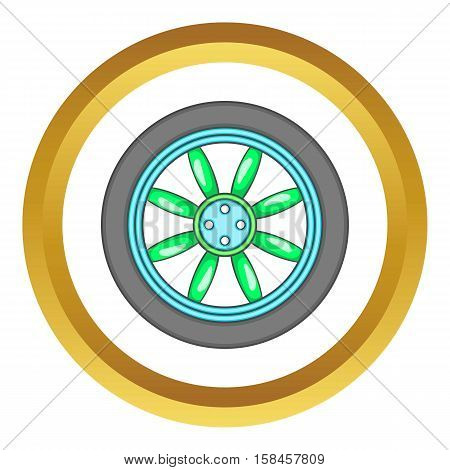 Car wheel vector icon in golden circle, cartoon style isolated on white background