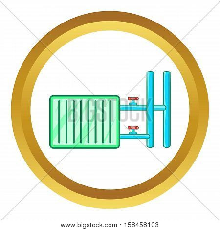 Radiator vector icon in golden circle, cartoon style isolated on white background