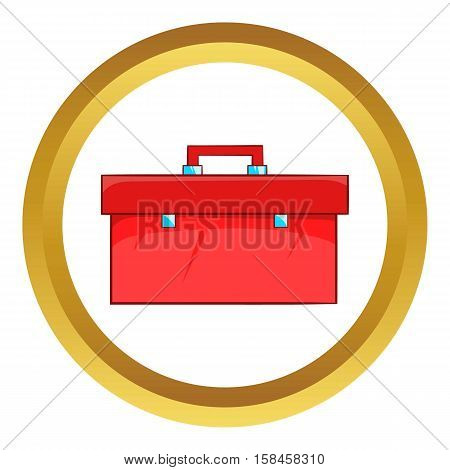 Closed red case vector icon in golden circle, cartoon style isolated on white background