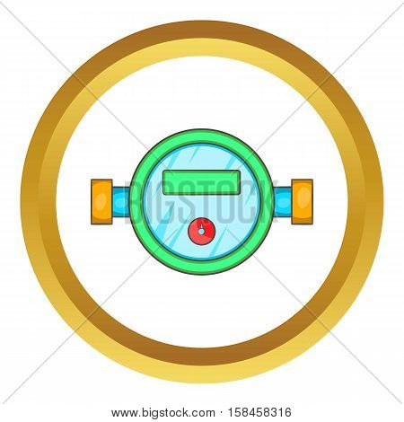 Water meter vector icon in golden circle, cartoon style isolated on white background