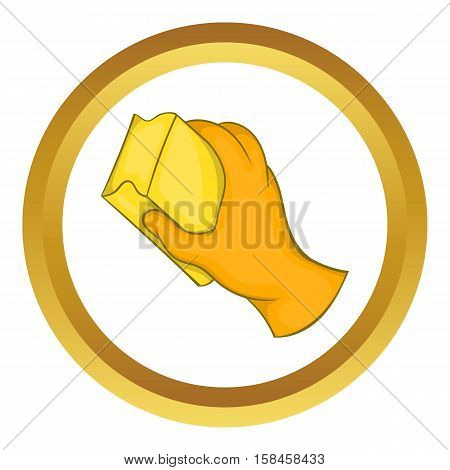 Hand in orange glove with rag vector icon in golden circle, cartoon style isolated on white background